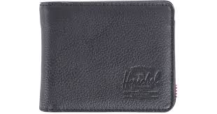 herschel supply co hank leather wallet with coin pocket in black for men lyst