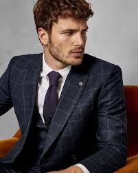 Mens Designer Suits Uk Debonair Slim Wool Check Suit Jacket In 2019 Ted Baker