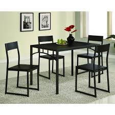 Clear Dining Room Table Dining Room Modern 5 Piece Dining Set With Black Metal Chair And