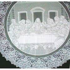 tablecloths last supper 72 inch round white oxford house