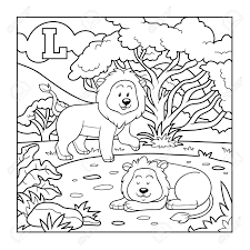 Coloring Book Lion Colorless Alphabet For Children Letter