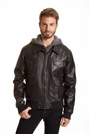 mens multi pocket faux leather hooded jacket zoom