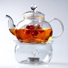 glass teapot warmer candle holder drum