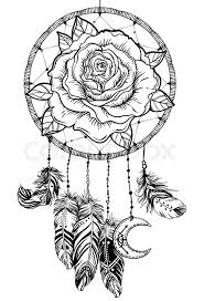 Black And White Dream Catcher Tattoo Interesting Dream Catcher With Rose Flower Detailed Vector Illustration