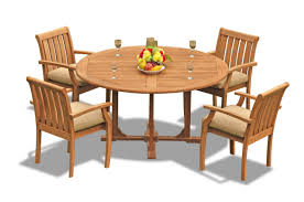 5 pc grade a teak wood outdoor dining set 60 round dining table