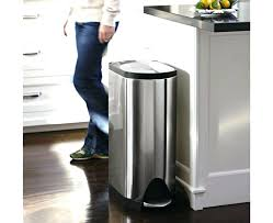 stainless steel kitchen trash can. Metal Kitchen Trash Can Decoration Art Size Sizes Garbage Cans . Stainless Steel