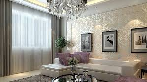 living room ceiling lighting white silver damask wallpaper white leather long sofa with chaise long chair
