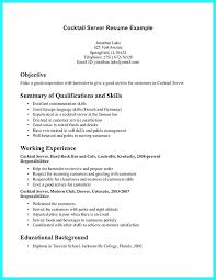 Resume For Bartenders Server Resume Skills Examples Food Server Simple Server Bartender Resume