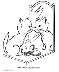 Cute Kitten Coloring Page 007