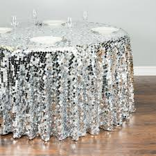 round payette sequin tablecloth silver