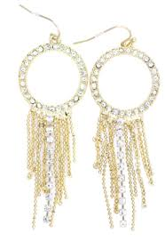 gold and clear crystal hoop with tassel chandelier earrings