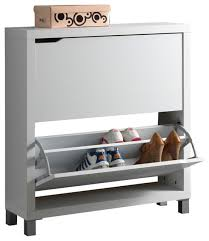Baxton Studio Simms White Modern Shoe Cabinet contemporary-shoe-storage