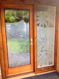 oak wooden frame single front doors with fiberglass panels decor for small and narrow house design ideas