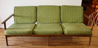 Furniture Mid Century Sofa With Modern Green And Brown Wooden Floor