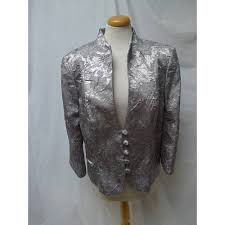 oxfam hub milton keynes a stunning jacket by alexon in metallic silver crinkle effect fabric with a fl design this size 16 jacket fastens to the