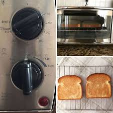 toaster oven controls and toasted bread