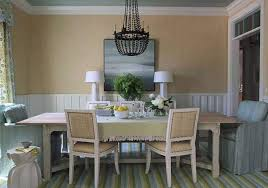 beach style dining room with grasscloth wallpaper and wall art and stripe area rug dining