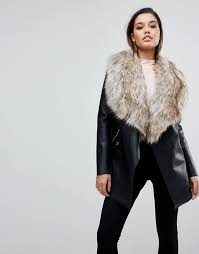 lipsy faux leather waterfall coat with faux fur trim m41p2 for women