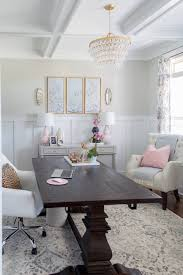 office in dining room. Office Dining Room. Chic And Girly Home With Farmhouse Trestle Table, DIY Gold In Room N