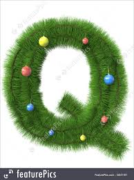 Letters and Numbers: Q letter made of christmas tree branches isolated on  white background