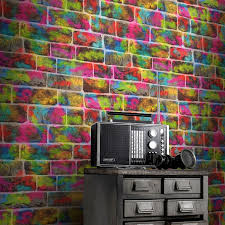 Brick Graffiti Wallpaper Brick Wall Graffiti Wallpaper Rolls  Rasch 291407  Neon | Ebay
