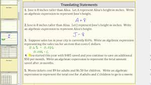 18 translating algebraic expressions worksheet words 6 best images of and equations