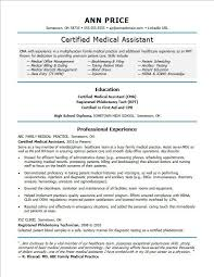 Certified Medical Assistant Resume Best Medical Assistant Resume Sample Monster
