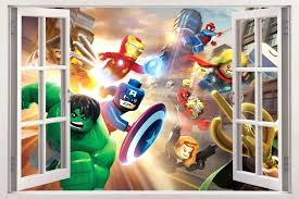 marvel wall stickers marvel super heroes window view decal wall sticker decor marvel wall stickers large marvel wall stickers