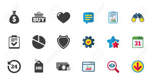 Commerce Chart Online Shopping E Commerce And Business Icons Checklist Like