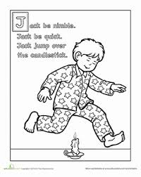 0a9e909181aa12b307c970236c280932 jack be nimble coloring page coloring, colors and worksheet on nursery rhyme printable books