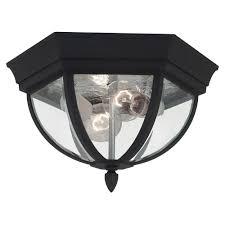 sea gull lighting wynfield 2 light black outdoor ceiling fixture