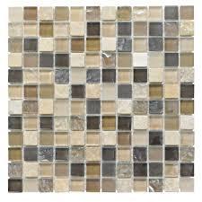 Beige Mosaic Glass & Stone Wall Tile, (L)300mm (W)300mm | Departments | DIY  at B&Q.