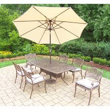 Image Sale 9piece Aluminum Outdoor Dining Set With Oatmeal Cushions And Beige Umbrellahd2301t2109c6om4005bg410115ab The Home Depot Contemporary Furniture Warehouse 9piece Aluminum Outdoor Dining Set With Oatmeal Cushions And Beige