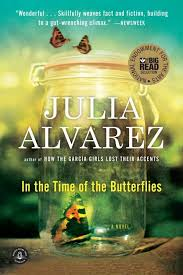 in the time of the butterflies nea book cover author and book title and image of a a butterfly at the bottom