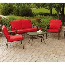 mainstays stanton cushioned 4 piece patio conversation set red walmart