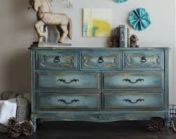 distressed blue furniture. Blue Dresser, French Provincial Vintage Buffet, Painted Furniture, Hand Distressed Furniture G