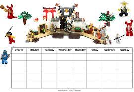 Chore Chart Incentives Free Printable Chore Charts With Ninjago
