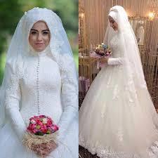 discount islamic wedding dresses high neck modest long sleeves