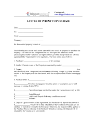 letter of intent to purchase land