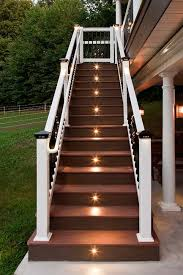 in stair lighting. image of deck stair lights narrow in lighting