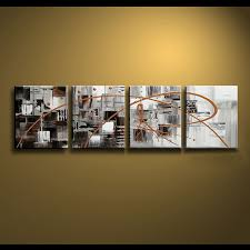framed 4 panel large black white and brown canvas art abstract oil painting wall picture interior on brown framed wall art with framed 4 panel large black white and brown canvas art abstract oil
