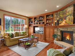 corner fireplace ideas family room traditional with ceiling lighting bookshelves
