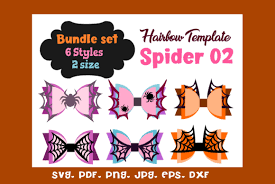 Final size for mermaid bow is 4.5 inches wide. Spider 02 6 Style Hair Bow Template Graphic By Momstercraft Creative Fabrica