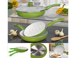lime 5 piece ceramic coated frying pan set red white non stick pyrex glass lid