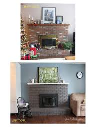 for our 1980s red brick fireplace remodel i love white brick fireplaces but my husband doesn t so this was our compromise and i love it