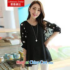 Lehman Daisy 2015 new women mm thick Summer Snow woven shirts and indeed  the cuff round-collar loose video thin female wave point T-shirt YG 0162  black XXXL