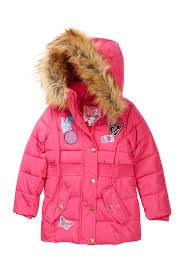 Kensie Girl Hooded Bubble Jacket With Faux Fur Trim Patches Toddler Girls Nordstrom Rack