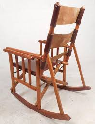 mid century modern costa rican leather campaign folding rocking chair in good condition for