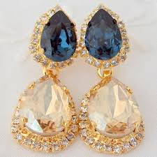 champagne and royal blue chandelier earrings bridal earrings 1