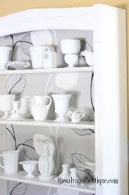 milk glass collection kitchen cabinet display